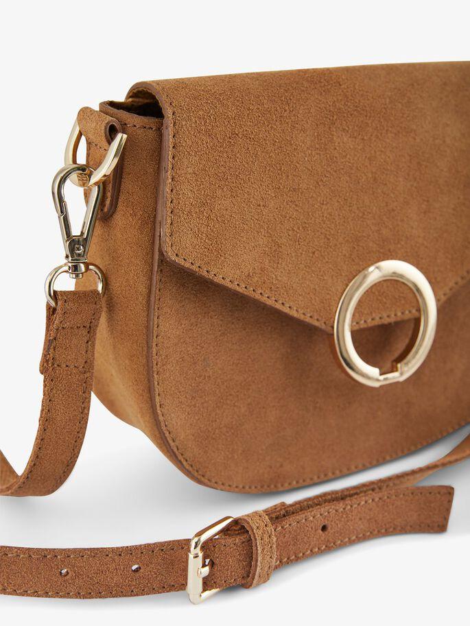 Zamszowa,mała torebka z klamrą na ramię marki Pieces @Zalando