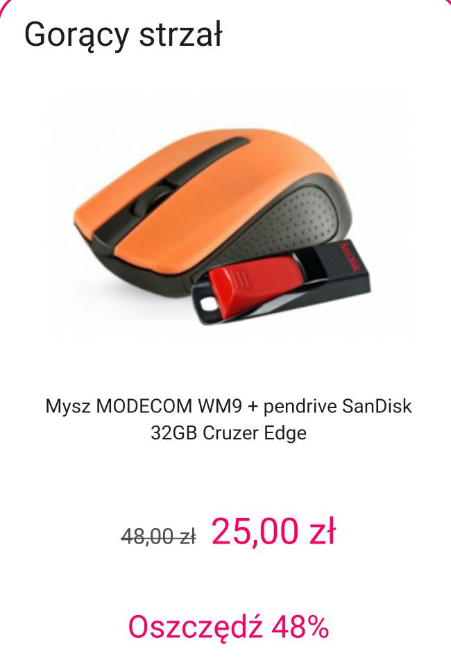 Mysz MODECOM WM9 + pendrive SanDisk 32GB Cruzer Edge @x-kom gorący strzał 25zł