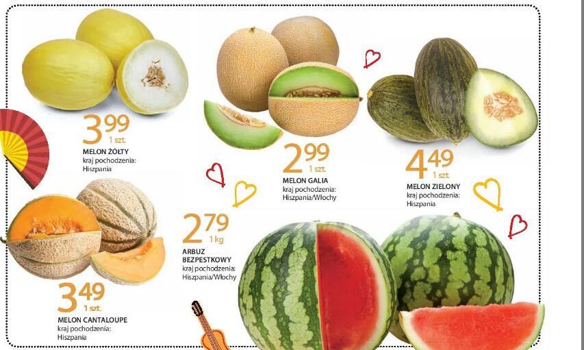 Melon Galia 2,99 zł/szt.@Melon Cantaloupe 3,49 zł/szt. @Melon żółty 3,99 zł/szt. @Melon zielony 4,49 zł/szt. @Arbuz bezp 2,79 zł/kg@Lecrerc