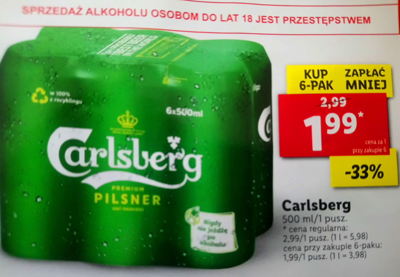 Piwo Carlsberg 6x0,5l cena za puszkę 1,99 przy zakupie 6 Lidl