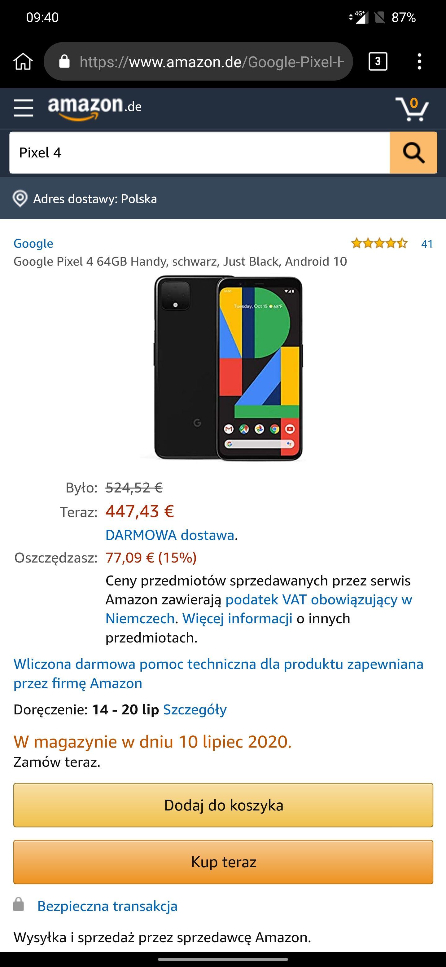 Google pixel 4 black 474 euro