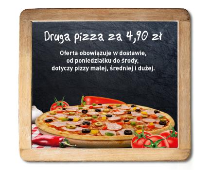 Druga pizza w dostawie za 4,90zł @ Dominium