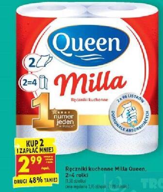 Milla Queen Ręczniki kuchenne 2=4 rolki 2,99/opak. przy zakupie 2 opak. @Biedronka