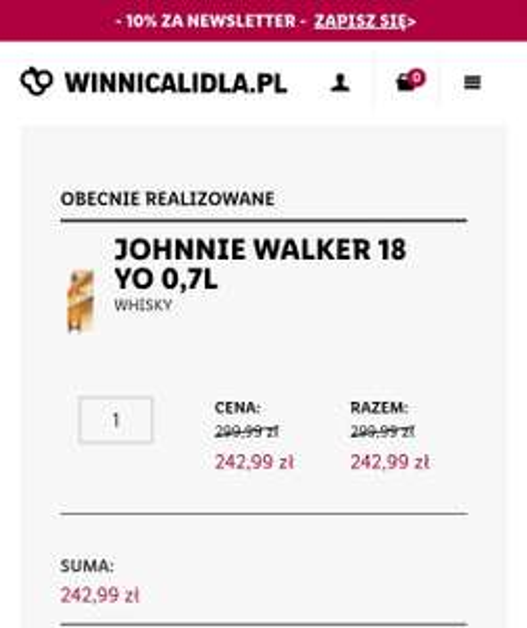 Johnnie walker 18 YO 0,7l - winnica lidla