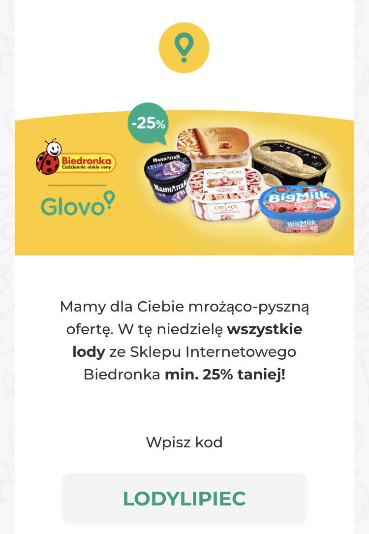 -25 % na lody w biedronce w GLOVO