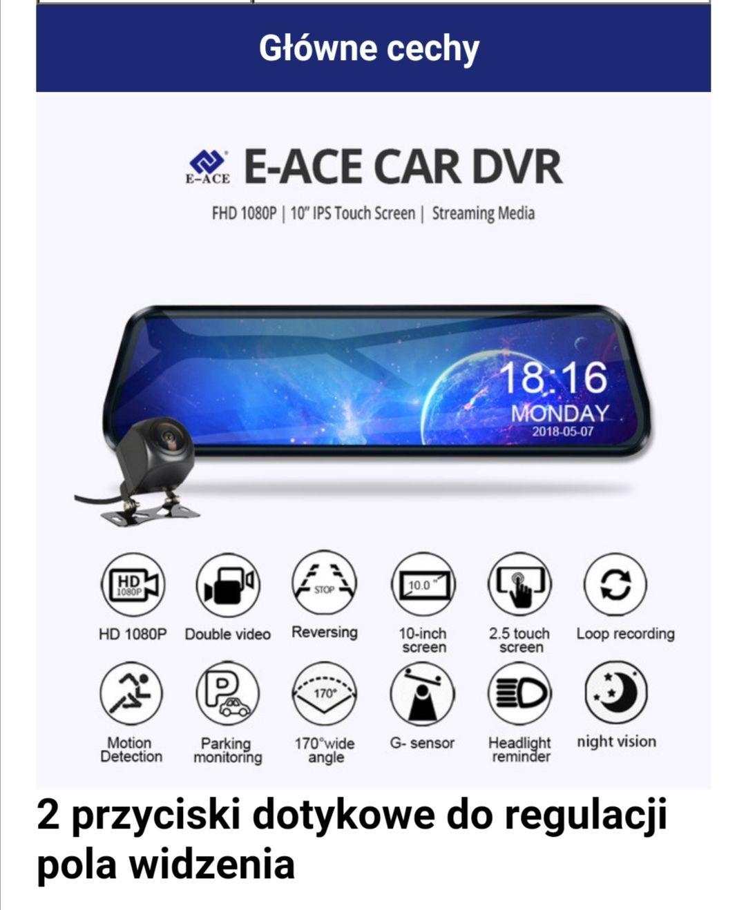 Wideorejestrator samochodowy E-ACE Lusterko wsteczne z wysuwaną kamerą full HD i Night Vision + kamera cofania HD Wysyłka z Hiszpanii