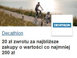 Decathlon - 20 zł zwrotu za zakupy z Visa Oferty