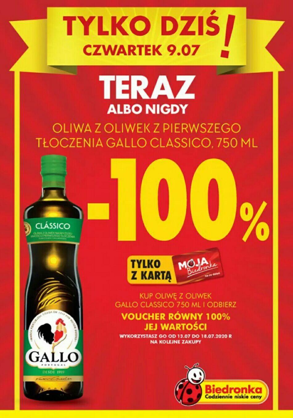 Biedronka, Voucher 100% kwoty wydanej na oliwę z oliwek Gallo Clássico 750ml