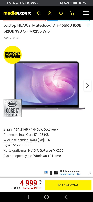 Huawei Matebook 13 taniej 490zl. I7 10 GEN 16gb ram 512 ssd mx 250 Windows 10
