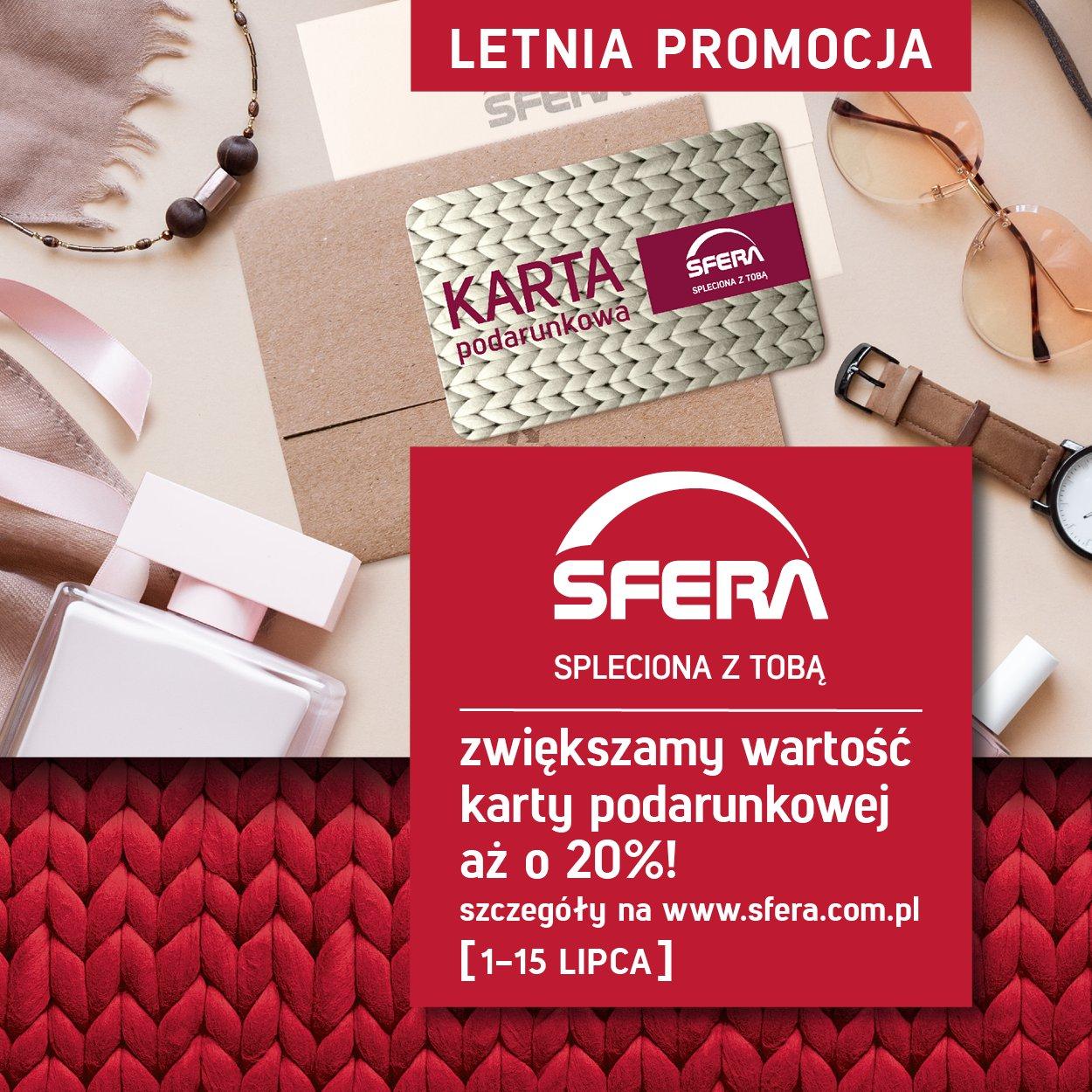 20% ekstra przy zakupie karty podarunkowej Sfera w Bielsku-Białej