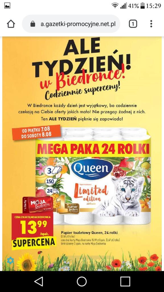 Papier toaletowy Queen 24 rolek - Biedronka