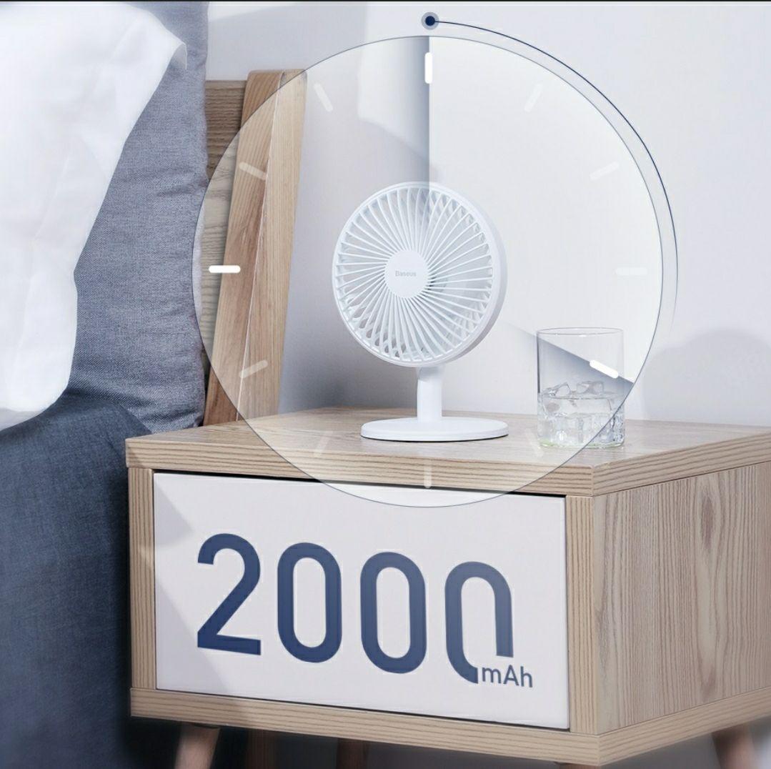 Baseus mały mocny biurkowy wiatrak, wentylator z akumulatorem