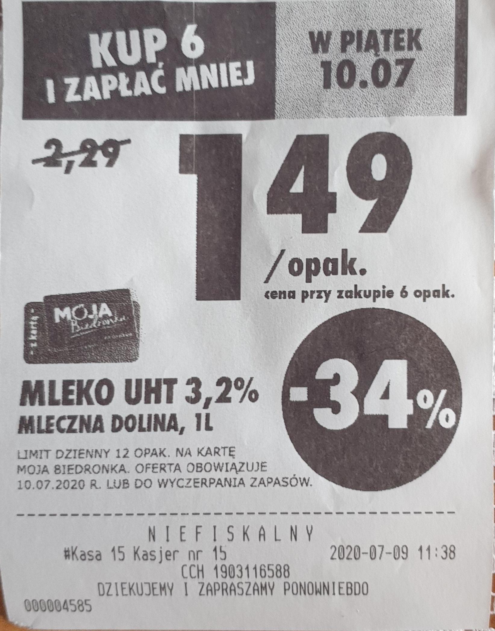 Mleko Mleczna Dolina UHT 3,2% 1 l. przy zakupie 6 opak. Biedronka