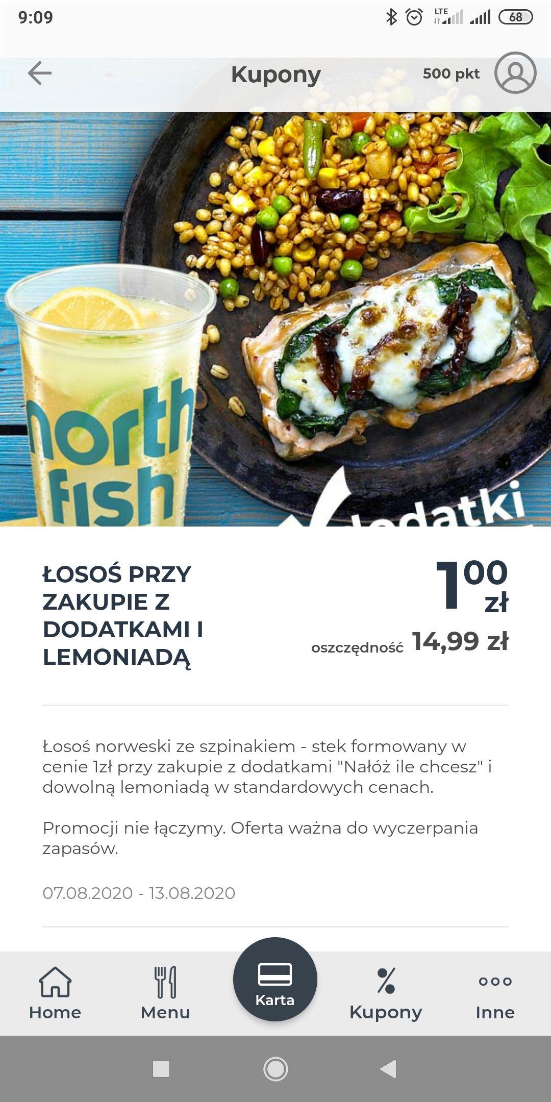North Fish - Łosoś norweski za 1zł przy zakupie z lemoniadą i dodatkami