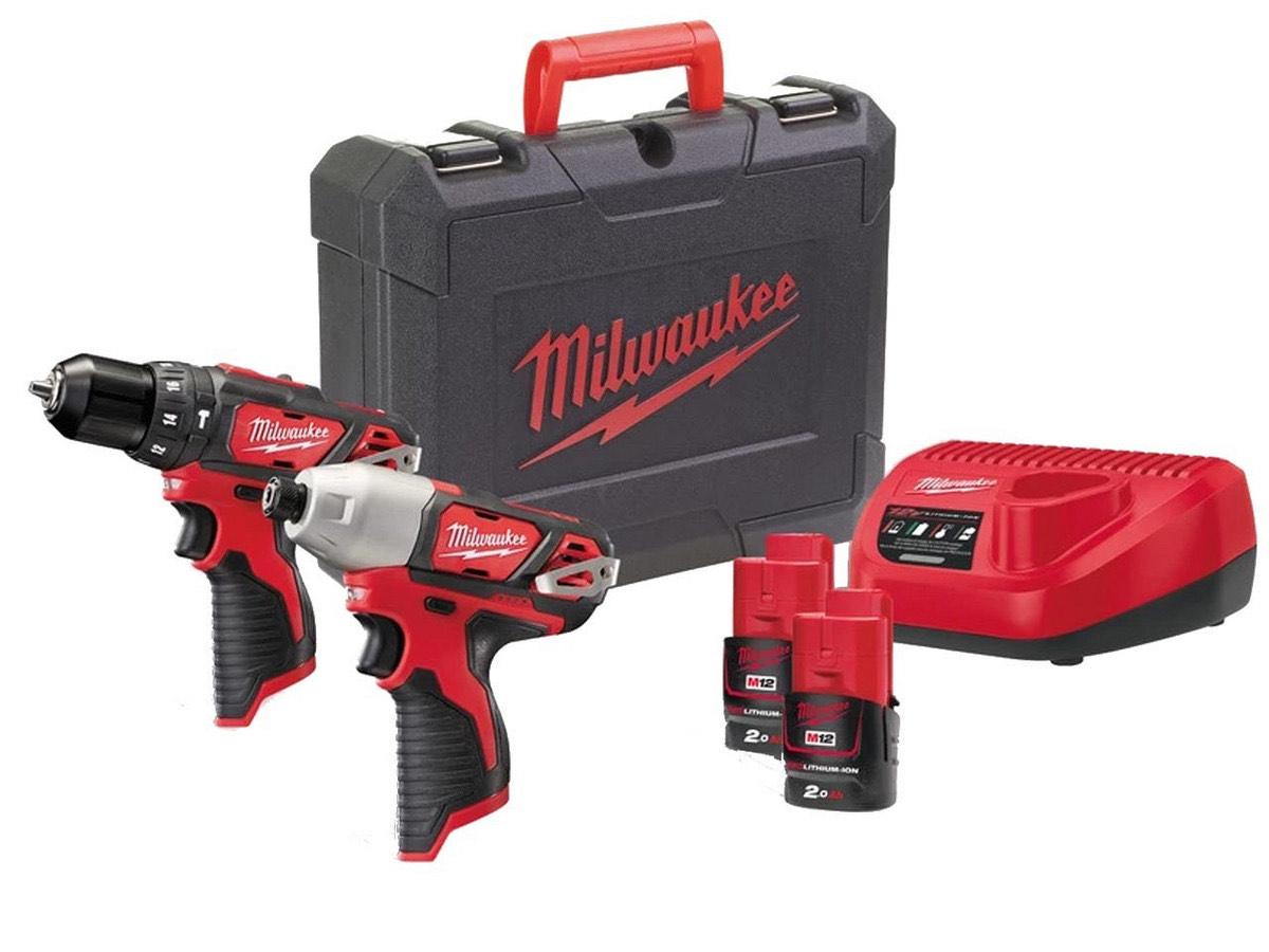 Zestaw Milwaukee wkrętarka udarowa, zakrętarka udarowa, 2 akku