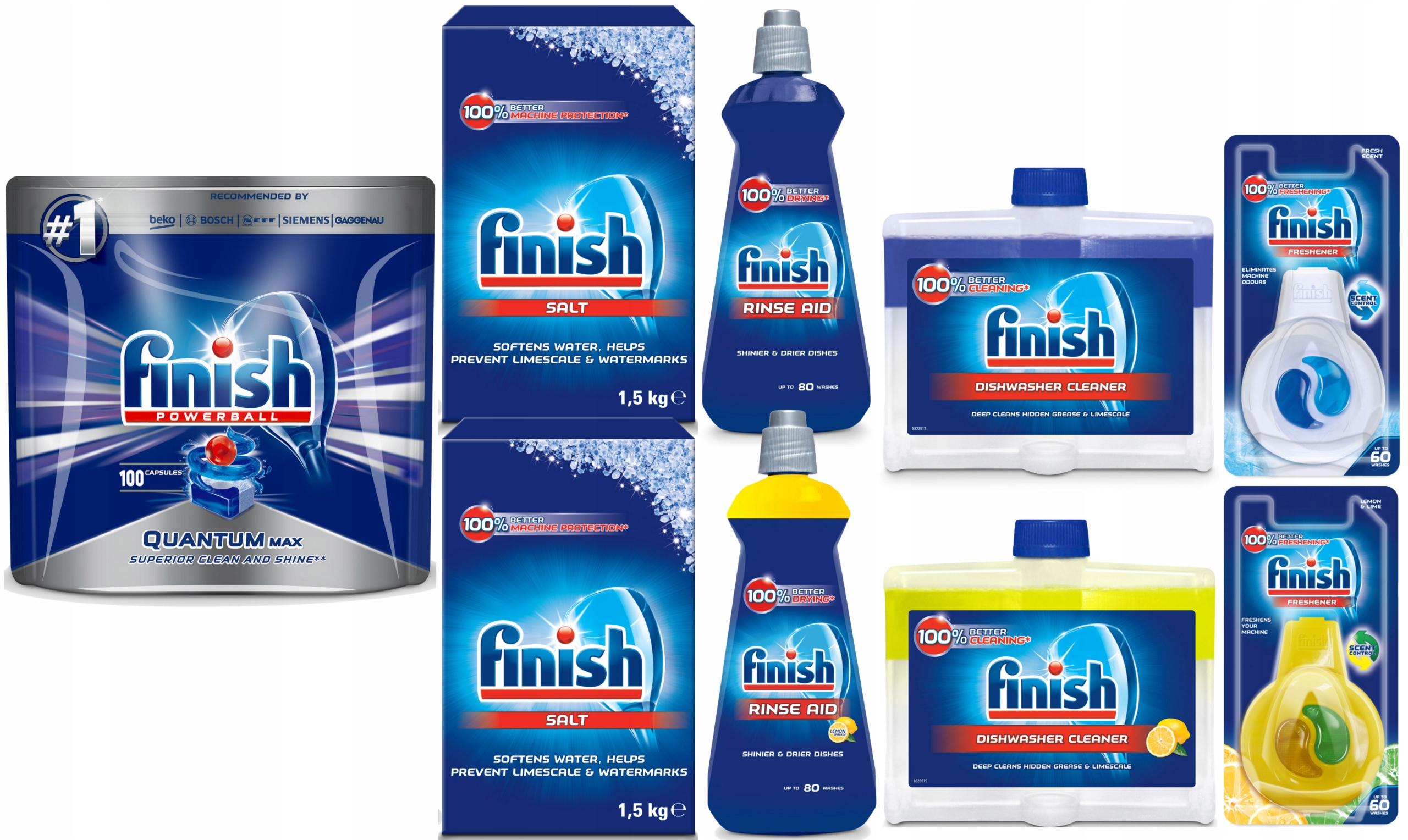 Zestaw do zmywarki Finish, tabletki, sól, płyn nabłyszczający, zapach, płyn do czyszczenia