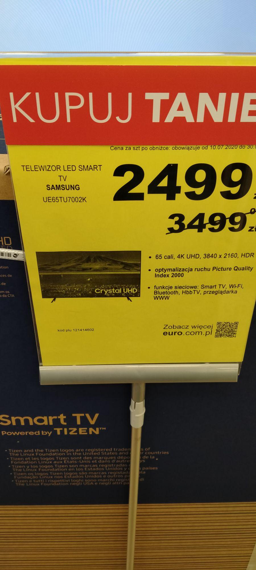Telewizor Samsung UE65TU7002K 1000 PLN taniej.