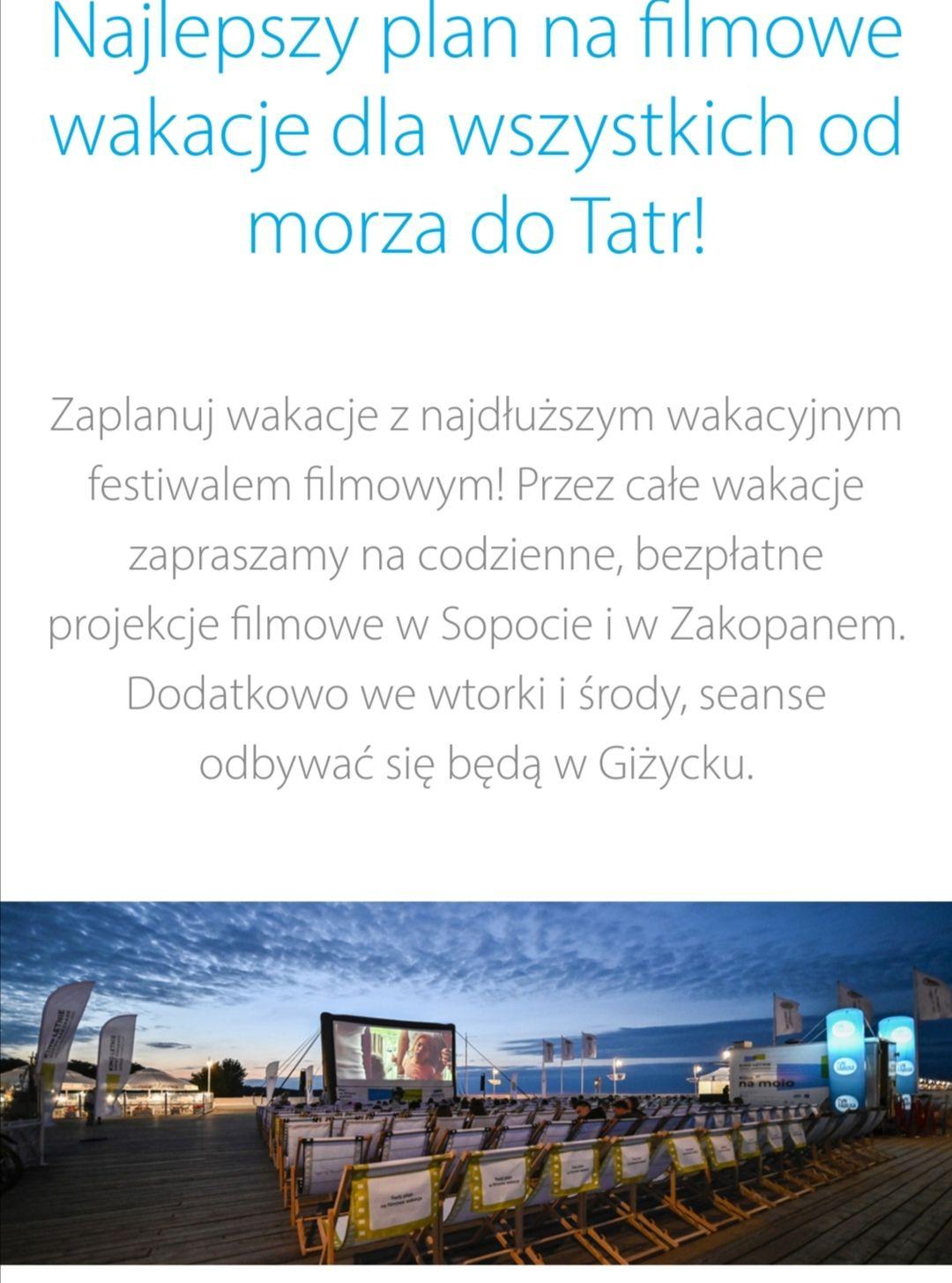 Darmowe Kino Letnie Sopot, Giżycko, Zakopane