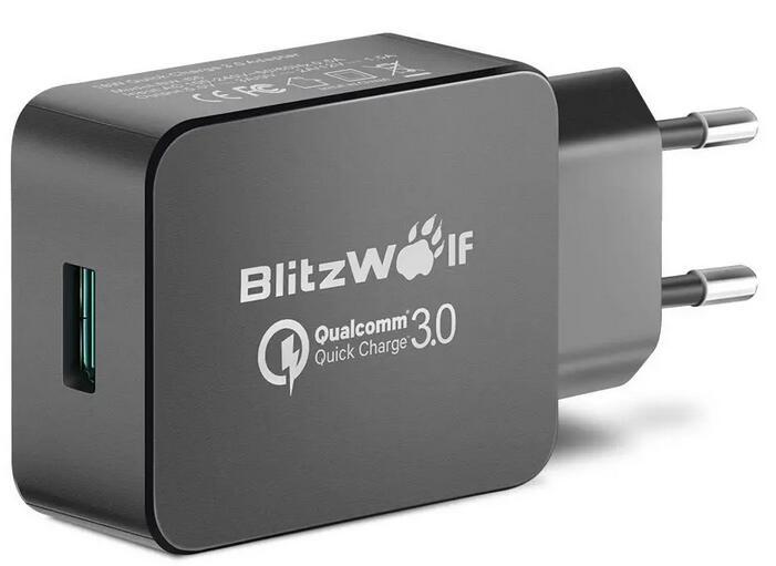 BlitzWolf® BW-S5 QC 3.0 18W ładowarka USB z Power3S, czarna Certyfikat Qualcomma