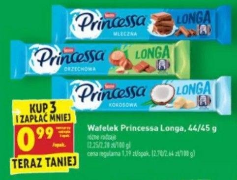 Wafelek Princessa Longa 44/45g różne rodzaje cena przy zakupie 3 sztuk Biedronka