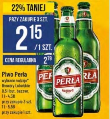 Piwo Perła 2,15 zł/szt. przy zakupie 3 szt. @Polomarket