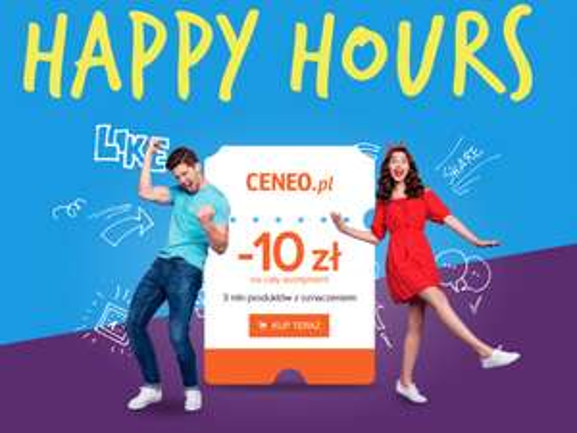 Ceneo Happy Hours - kupon rabatowy 10zł na cały asortyment (codziennie od godz. 14 do 16)
