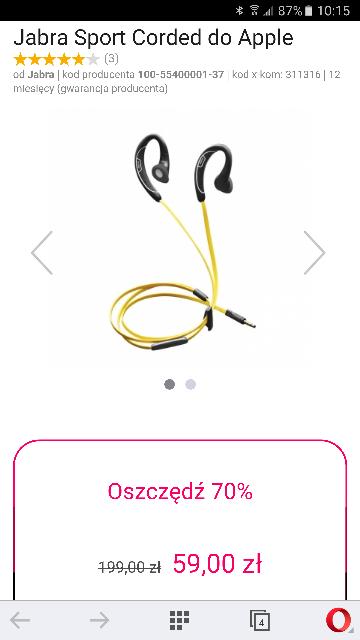 Jabra Sport Corded do Apple goracy_strzal @x-kom - 70%