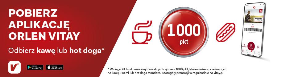 Darmowa kawa 210ml / hot dog standard dla nowych klientów aplikacji VITAY