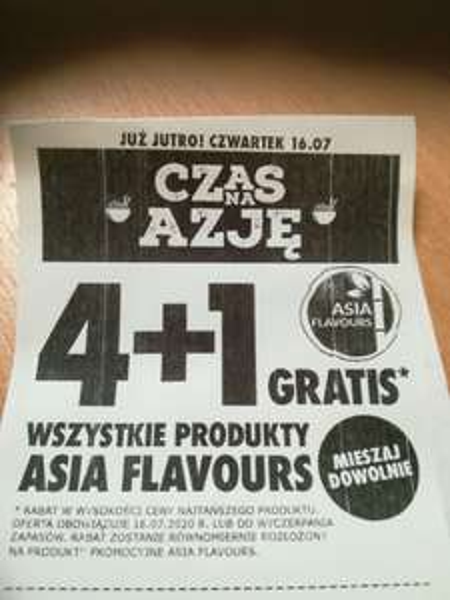 Produkty Asia Flavours 4+1 gratis Biedronka