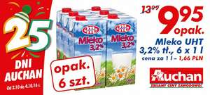 Mleko UHT 3,2% 6x1l @Auchan