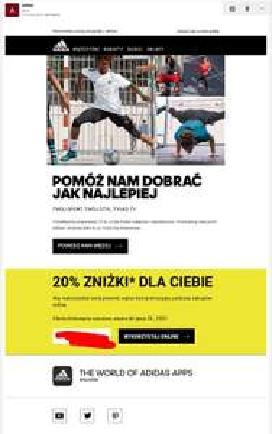 20% zniżki podczas zakupów online - Adidas