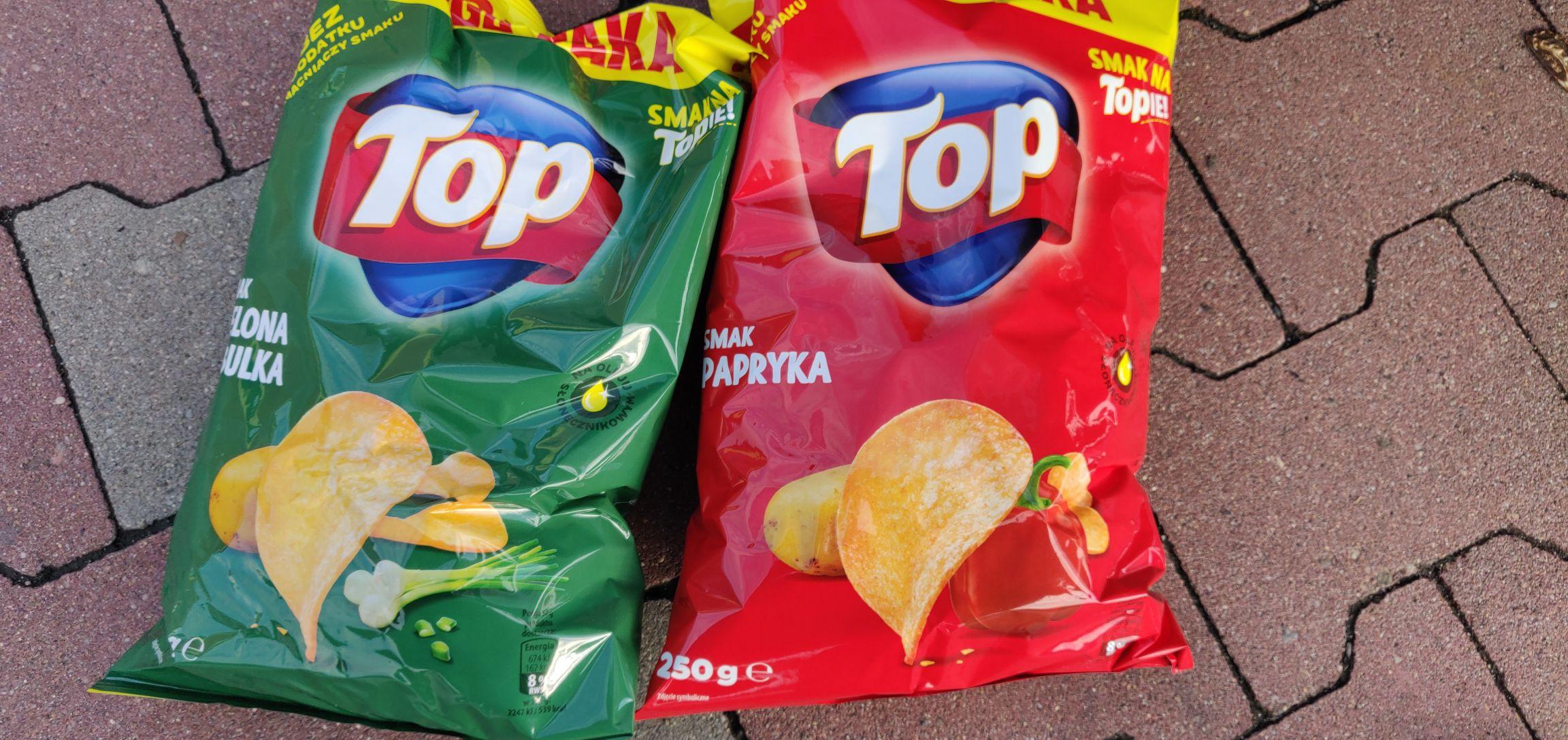 [Biedronka] Chipsy Top Chips Papryka / Zielona Cebulka MEGA PAKA 250g 3.49 zł