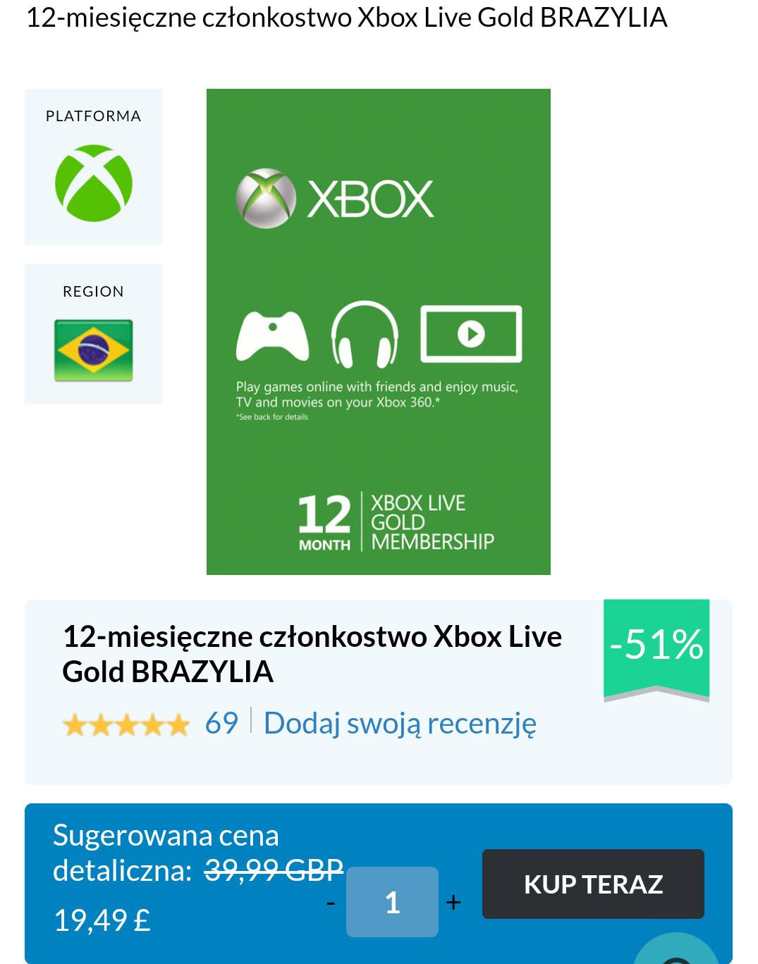 Xbox Live Gold BRAZYLIA 12 miesięcy VPN