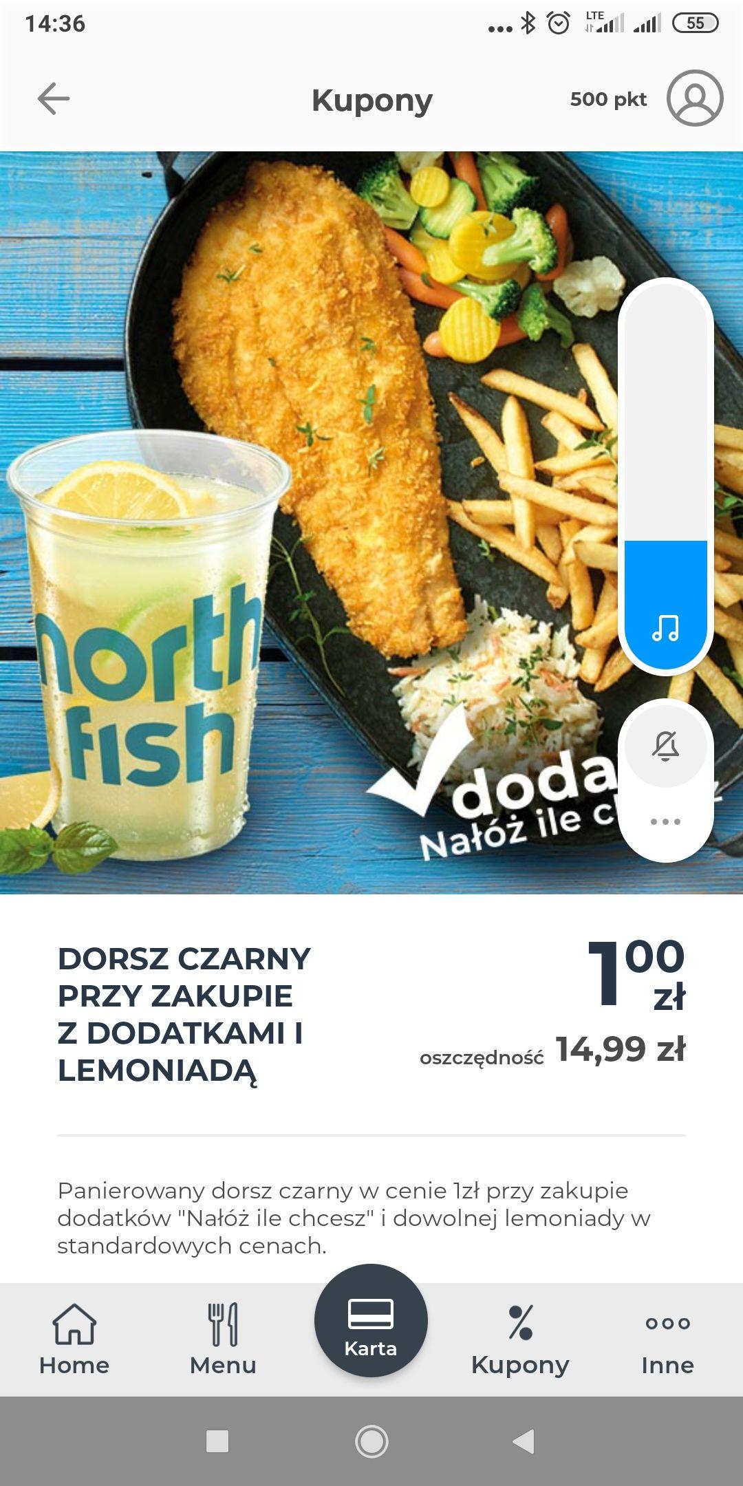 North Fish -Dorsz czarny za 1zł przy zakupie z lemoniadą i dodatkami