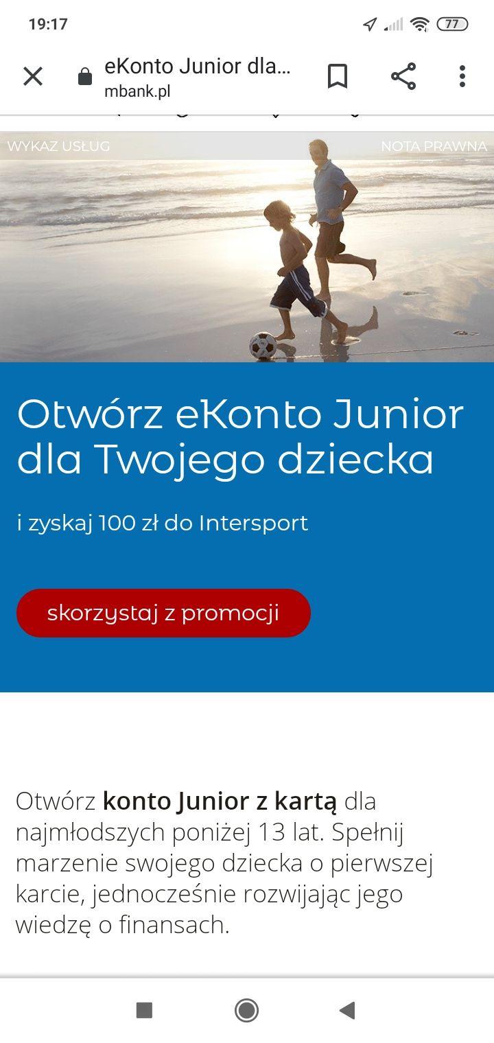 Voucher 100 zł do Intersport za założenie konta Junior - mBank Intensive