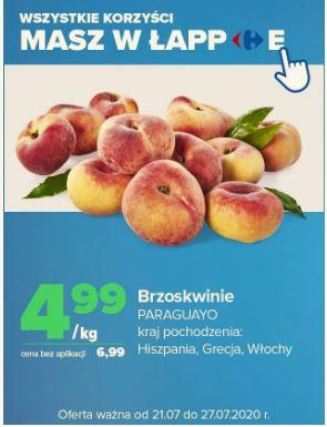 Brzoskwinie Paraguayo, 1kg, od 21.lipca w Carrefour, cena z aplikacją