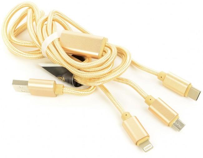 Kabel Accura 3 w 1 Lightning / USB-C / micro USB 1.2m złoty