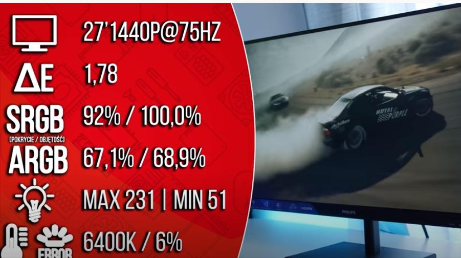 Philips Monitor 275E1S 27'' 75HZ IPS HDMI DP FreeSync ips 2560 x 1440 pikseli Freesync