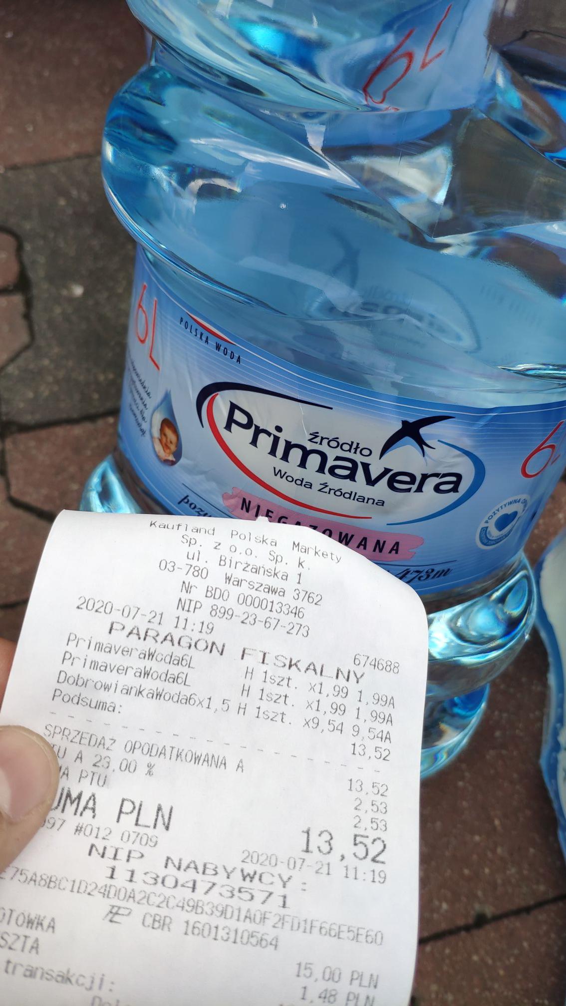 Woda Primavera 6litrów 1.99zł