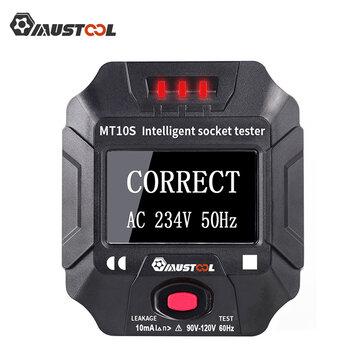 Tester gniazdek elektrycznych Mustool MT10S/MT10E napięcie częstotliwość RCD ekran