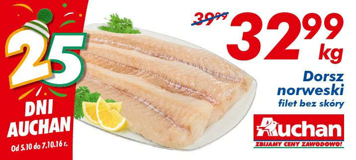 Dorsz norweski-filet bez skóry kg @Auchan