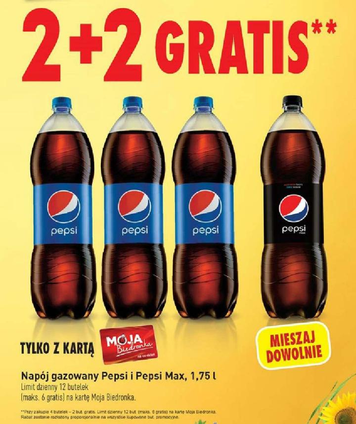 PEPSI / PEPSI MAX 1,75L, 2+2 GRATIS Biedronka