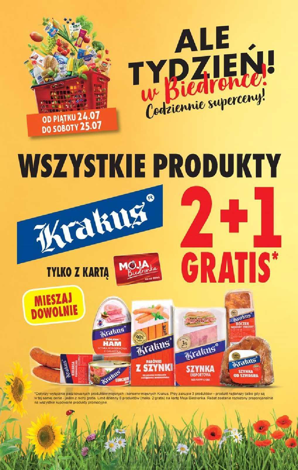 Wszystkie produkty Krakus 2+1 gratis i Delma 500g za 1.75zł przy zakupie 3szt z kartą - Biedronka