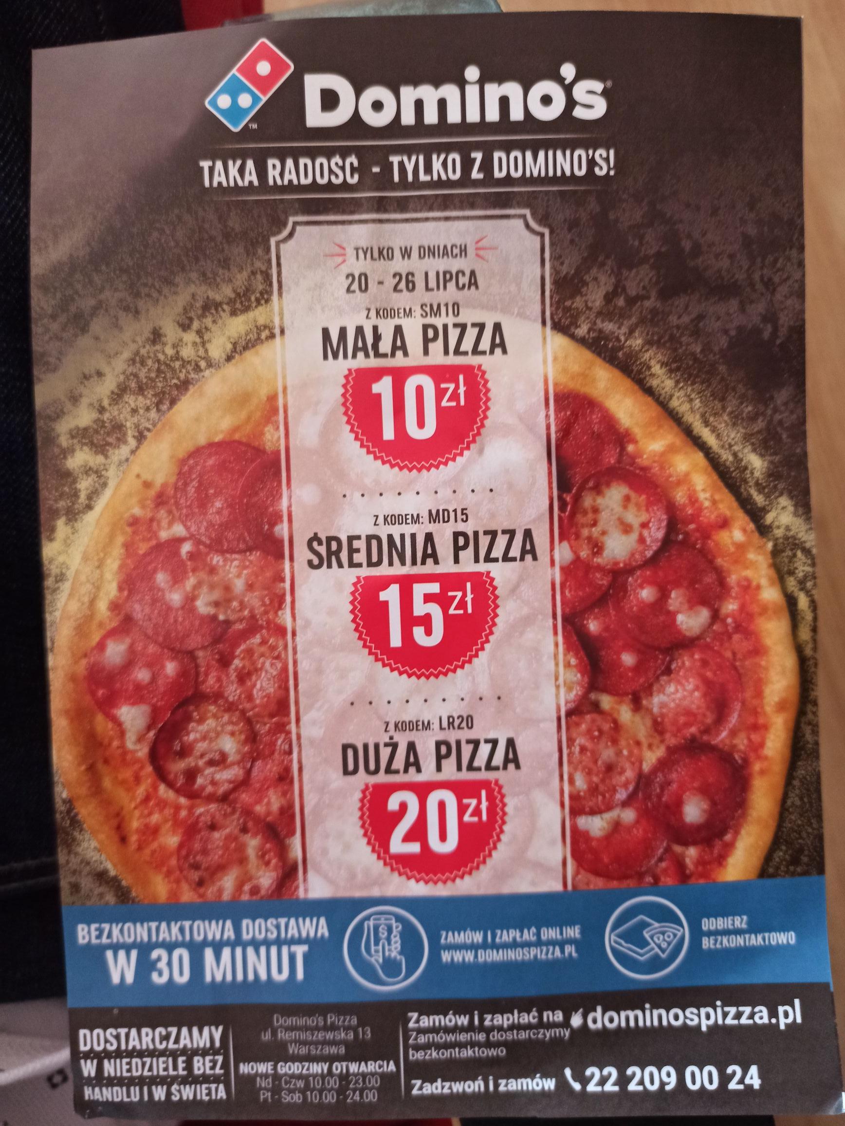 Wszystkie duże pizze 20zł, średnie 15zł, małe 10 zł Warszawa-Targówek