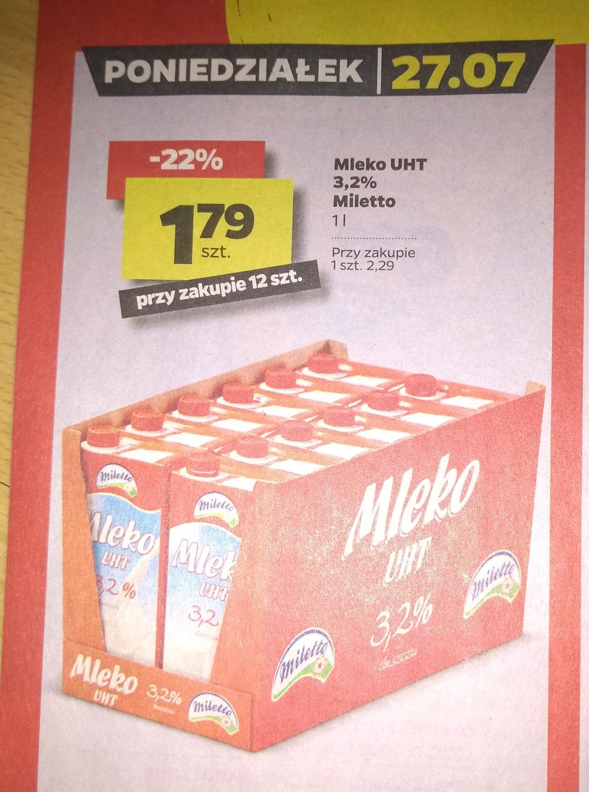 Mleko UHT Miletto 3,2% za 1,79 przy zakupie 12szt w Netto 27.07.
