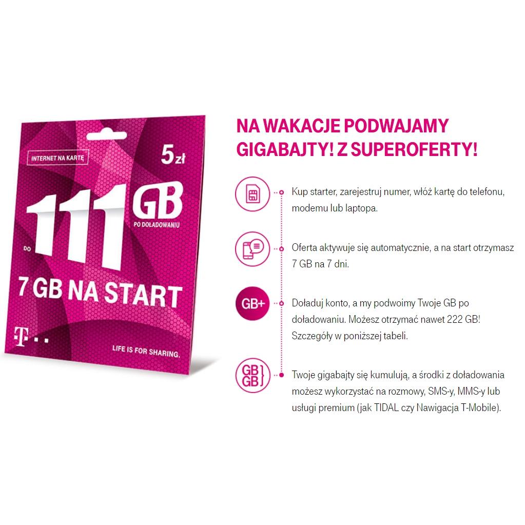 T-Mobile podwaja gigabajty na wakacje nawet 222 GB po doładowaniu!