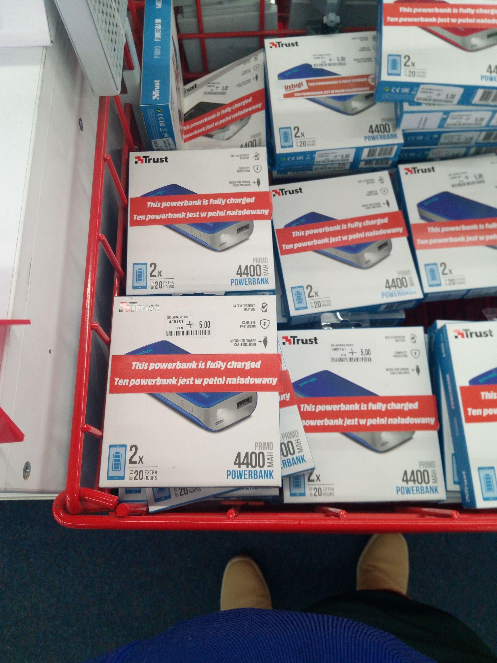 Powerbank Trust Primo 4400 mAh USB Niebieski Kraków Media Markt Galeria Krakowska.