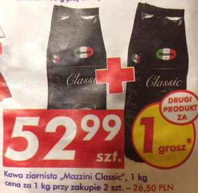 Kawa ziarnista Mazzini Classic 2kg - Auchan 6-12 X