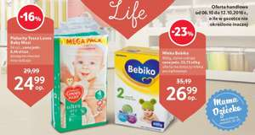 Mleko Bebiko 800g za 26,99zł, pieluszki Tesco Loves Baby za 24,99zł @ Tesco