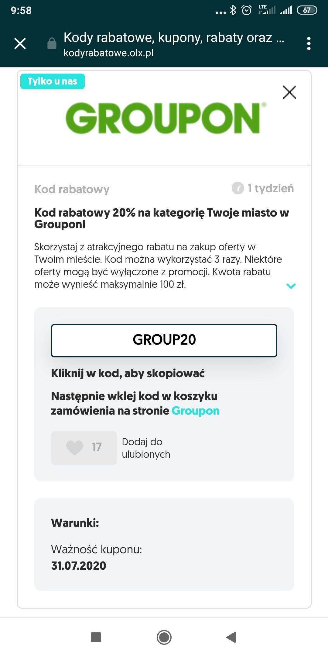 Kod rabatowy 20% na kategorię Twoje miasto w Groupon